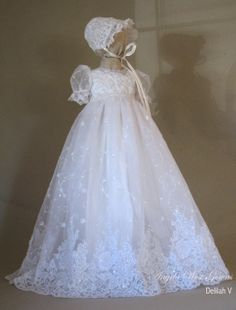 "Angela West Christening gown set ""Delilah "" V"" White size TBD This is the new fabric. Acessories included"