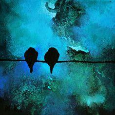 Lovebirds 121 Original Abstract Painting Birds On by Natureandart, $70.00