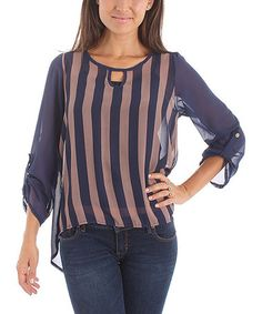 Take a look at this Navy & Beige Stripe Top by Buy in America on #zulily today!
