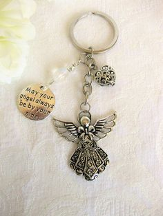 Silver Keychain Angel Keychain Silver Jewelry Handmade