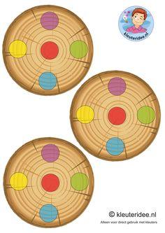Eikelspel voor kleuters, spelbord voor spelers, thema herfst, by juf Petra van kleuteridee, Preschool acorn game, personal gameboard, free printable.