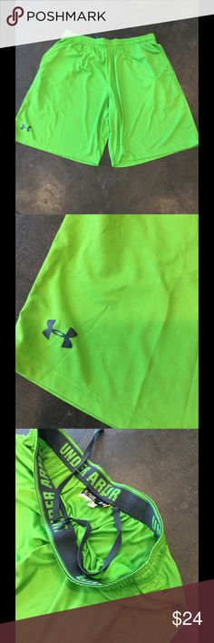 """Under armour mesh basketball workout micro shorts Excellent used condition w/ no flaws. •4-Way Stretch fabrication allows greater mobility and maintains shape •Full, loose fit for enhanced range of motion & breathable comfort no matter where your workout takes you. •Covered elastic waistband with internal drawcord •Mesh hand pockets and 10"""" inseam •100% Polyester •Style 1236423 Listing is for green not red as in model pic. See other listing for red shorts Under Armour Shorts…"""