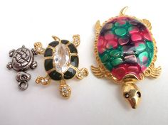 Vintage Turtle Tortoise Brooch pin Lot by mycreativeinstincts, $28.00