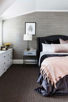 Contemporary Gray Faux Grasscloth Wallpaper