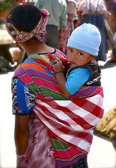 Babywearing mother and child in Guatemala