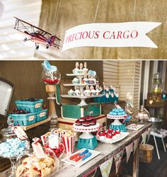 "PARTY HIGHLIGHTS to look out for:  – ""Baggage Claim"" Favors {salted peanuts + mini vodka bottles!}  – Cool passport-inspired invitations and paper details  – Adorable vintage cupcake wrappers and ""Baby on Board"" toppers  – Super cute marshmallows topped with candy ""propellers""  – Fun vintage props like suitcases, books, airplanes, a tricycle & more!"