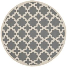 BEST OPTION FOR TOP OF STAIRS Safavieh Indoor/ Outdoor Courtyard Anthracite/ Beige Rug (4' Round)