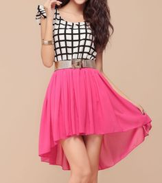 In stock $10.23 Wholesale Ladylike Style Scoop Collar Checked Slimming Chiffon Splicing Irregular Hem Short Sleeve Dress For Women (ROSE,ONE SIZE), Dresses ... Ladylike Style, Chiffon, Cute Outfits, Ballet Skirt, Short Sleeve Dresses, Slim, Clothes For Women, Rose, My Style
