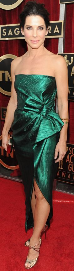 Sandra Bullock was a dream in a green Lanvin dress at the SAG Awards