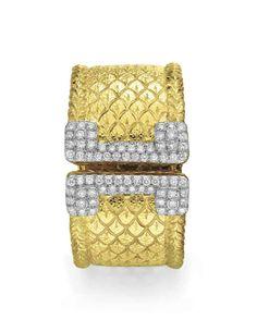 A diamond and gold cuff bracelet, by David Webb #christiesjewels
