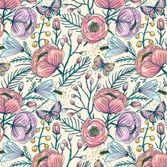 Vintage roses. Vector collection of seamless patterns by Anna Aniskina, via Behance