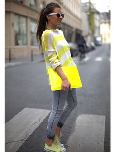 Acid-wash jeans get a major pop with neon-yellow everything else!