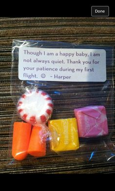 Parents gave this to fellow passengers... It was baby Harpers first flight. Parenting done right!