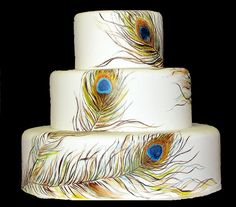Say It Sweetly 2....... Ms Debbie's SugarArt: Peacock Feather Cake ...hand painted cakes a technique offered at Ms Debbies
