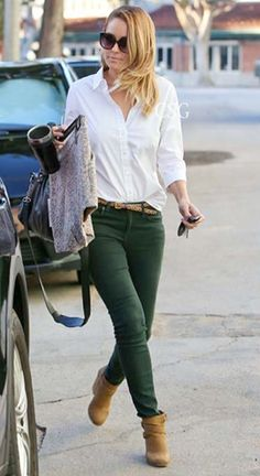 Lauren Conrad Casual White Shirt Green Jeans #celebrity #fashion