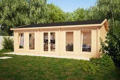 Large Garden Room D / / 5 x 8 m – Summer House 24 Summer Sheds, Wooden Summer House, Garden Log Cabins, Floor Insulation, External Doors, Double Doors, Windows And Doors, Bungalow, Garden Design