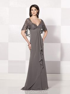 Charcoal Empire Waist V-nek A-line Mother of the Bride/groom Dress - RosyGown.com