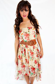 Picking Wildflowers Printed Dress In Ivory/Red CLEARANCE FINAL SALE.