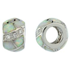 "Sterling Silver Pandora Type Barrel Bead Charm w/ White Synthetic Opal Inlay & CZ stones, 3/8"" (9mm)"