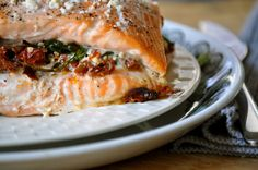 Stuffed to the Gills | Salmon Stuffed with Spinach, Sun-Dried Tomatoes, and Feta