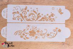 Florale Schablonen für Staubzucker-Dekorationen oder für Royal Icing. Swat, Stencils, Decorating, Dekoration, Swimming