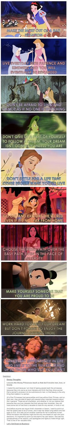 Yes yes yes!!! I too am tired of people bashing the Disney princesses; their stories have so much to teach us
