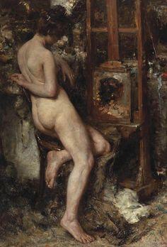 In de rust; model in the artist's studio (exh.1903). Albert Roelofs (Belgian, 1877-1920). Oil on canvas.