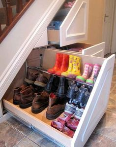 Insanely Clever Remodeling Ideas For Your New Home Shoe storage. Under stairs storage idea. I need this so bad. Under stairs storage idea. I need this so bad.