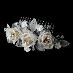 Chic Swarovski Crystal Ivory Rum Rose Wedding Bridal Special Occasion Hair Comb