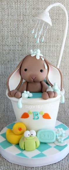 Bunny in the shower cake