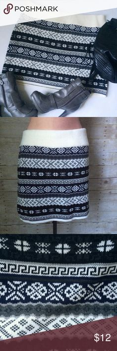 ✨NEW Listing✨➕Sweater Project Fairisle knit skirt Sweater Project Fairisle pattern knit plus skirt in cream, black, grey, and navy. Size is 2X. Not interested in trades. NWT. Sweater Project Skirts