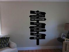 Adesivo de parede geek te mostra o caminho para Hogwarts, Narnia, Estrela da Morte e muito mais