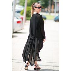 Black Knitting Summer Vest, Cotton Cardigan, Long Vest, Maxi Kaftan ($71) ❤ liked on Polyvore featuring tops, cardigans, cotton cardigan, long vests, cotton kaftan, knit vest and long cotton kaftans