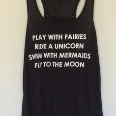Play with Fairies Ride Unicorns Mermaid tank Viscose blend Flowy tank, Too Pretty Tops Tank Tops