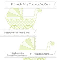Pastel Lime Green Heart Pattern  Large Baby Carriage Cut Outs