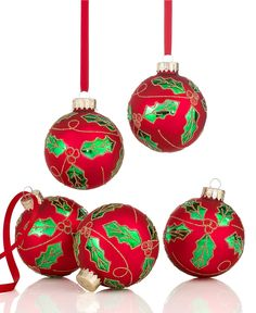 Holiday Lane Set of 5 Red Holly Ball Ornaments - Christmas Ornaments - Holiday Lane - Macy's