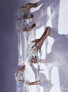 "Saatchi Online Artist: miles van rensselaer; Glass, 2009, Sculpture ""Ancestral Flow (detail of installation) ~ Cast Bronze/Hot Cast Glass"""