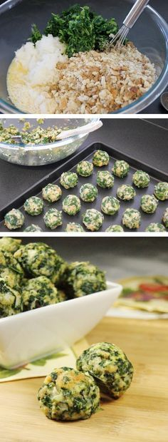 Parmesan Spinach Balls: 2 ounce) packages frozen chopped spinach, thawed and drained 2 cups Italian-style seasoned bread crumbs 1 cup grated Parmesan cheese cumulated 4 small green onion, finely chopped 4 eggs, lightly beaten salt and pepper to taste Vegetarian Recipes, Cooking Recipes, Healthy Recipes, Cooking Kids, Whole30 Recipes, Simple Recipes, Spinach Recipes, Frozen Vegetable Recipes, Spinach Bread