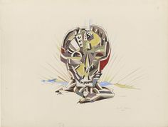 Ville cranienne (Skull City). AndreÌ Masson, 1940. Drawing on paper.