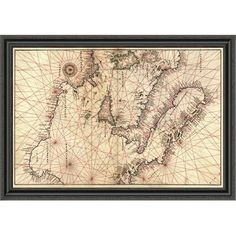 East Urban Home 'Portolan Map of Italy; Sicily; North Africa & the Mediterranean' Framed Print Size: