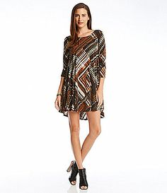 Karen Kane PatchworkPrint Swing Dress #Dillards