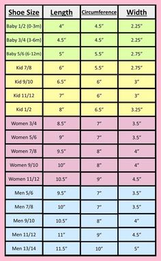 Measurement charts for hats, gloves and slippers - Crocheting JournalCrochet Slippers Archives - Page 9 of 10 - Crocheting shoe size for crochet, in red is cm. by admin shoe size for crochet, in red is cm.Shoe size to Foot measurement for Loom Knitting, Knitting Socks, Knitting Patterns, Crochet Patterns, Crochet Socks Pattern, Knitting Machine, Crochet Baby Shoes, Crochet Slippers, Crochet Clothes
