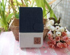 Diy Handmade Cloth Art Flip Cover Case RR Dark Denim color with Anchor for Samsung Galaxy S4 S3 S2 Note 1 2 Lte Apple iPhone 4 4S 5 on Etsy, $29.99