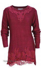 AP Arabelle Sweater Shirt Dress In Burgundy