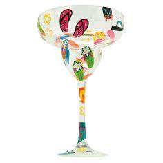 "2012 ""Flip Flops""  12 oz. hand painted margarita glass. Margarita recipe on bottom of glass. Designs By Lolita"