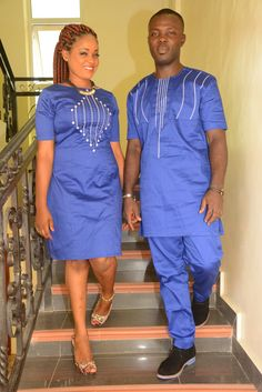 Items similar to Pafric Designs Couple blue polish cotton with embroidery. African clothing on Etsy Couples African Outfits, African Dresses Men, Latest African Fashion Dresses, Couple Outfits, African Print Fashion, Family Outfits, African Shirts For Men, African Attire For Men, African Clothing For Men