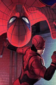 #Spiderman #Fan #Art. (Spider-man and Daredevil TeamUp MCU) By: Arch2626. (THE * 5 * STÅR * ÅWARD * OF: * AW YEAH, IT'S MAJOR ÅWESOMENESS!!!™)[THANK Ü 4 PINNING!!!<·><]<©>ÅÅÅ+(OB4E)