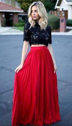 Elegant Two Pieces Evening Dresses, Floor Length A