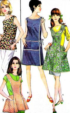 1960s Dress Pattern McCalls 8818 Mod Wrap Dress Tunic or Full Apron Womens Vintage Sewing Pattern Bust 36. $14.00, via Etsy.