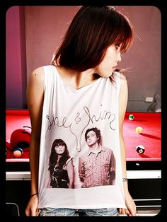SHE & HIM Indie Pop Short Tank Top Crop Top Shirt Women T-Shirt White Gold Size S M. $15.99, via Etsy.